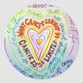 Rainbow Heart What Cancer Cannot Do Poem Sticker
