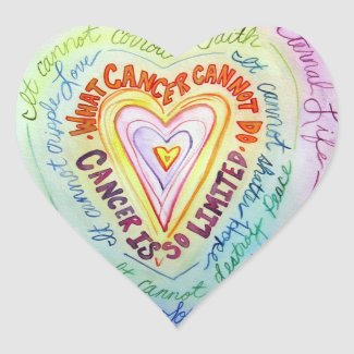 Rainbow Heart What Cancer Cannot Do Poem Stickers