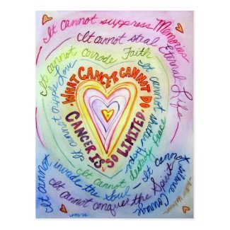 Rainbow Heart What Cancer Cannot Do Postcards