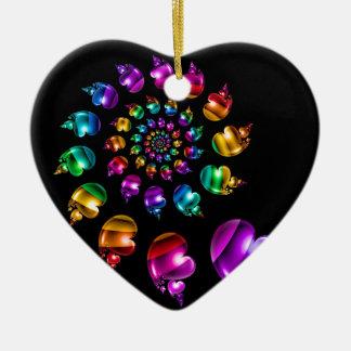 Rainbow Heart Wheel on Black Ceramic Ornament