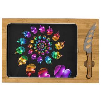 Rainbow Heart Wheel on Black Cheeseboard