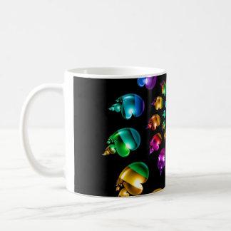 Rainbow Heart Wheel on Black Coffee Mug