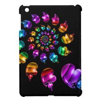 Rainbow Heart Wheel on Black Cover For The iPad Mini