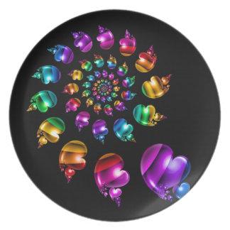 Rainbow Heart Wheel on Black Dinner Plate