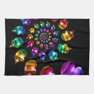 Rainbow Heart Wheel on Black Hand Towels