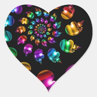 Rainbow Heart Wheel on Black Heart Sticker