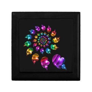 Rainbow Heart Wheel on Black Keepsake Box