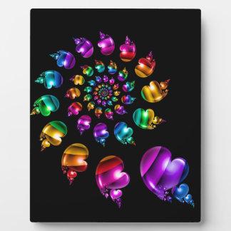 Rainbow Heart Wheel on Black Plaque