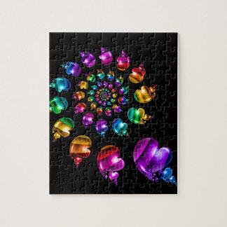 Rainbow Heart Wheel on Black Puzzle