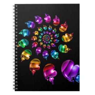 Rainbow Heart Wheel on Black Spiral Notebook