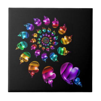 Rainbow Heart Wheel on Black Tile