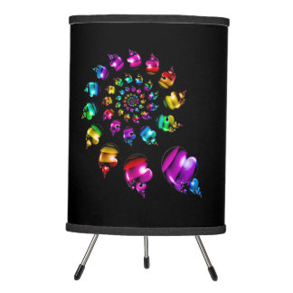 Rainbow Heart Wheel on Black Tripod Lamp