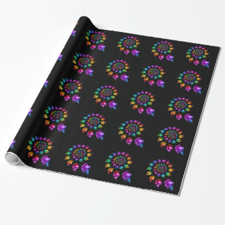 Rainbow Heart Wheel on Black Wrapping Paper