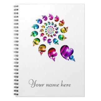 Rainbow Heart Wheel on White Notebook