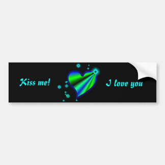 Rainbow heart with asterisks on black bumper sticker