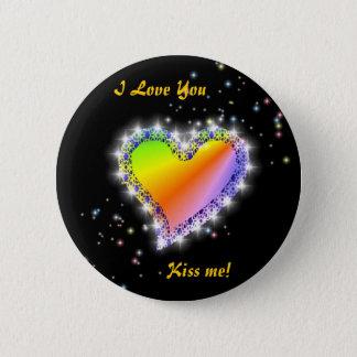 Rainbow heart with asterisks on black button
