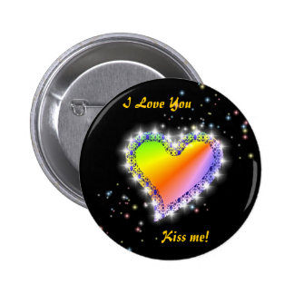 Rainbow heart with asterisks on black button