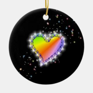 Rainbow heart with asterisks on black ceramic ornament
