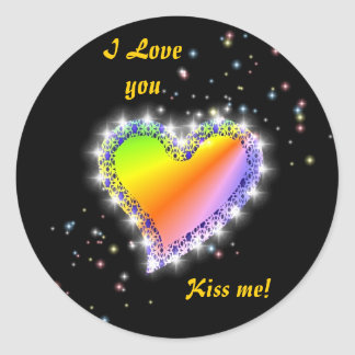 Rainbow heart with asterisks on black classic round sticker