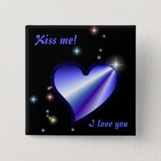 Rainbow heart with asterisks on black pinback button