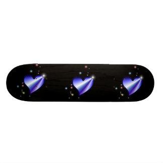 Rainbow heart with asterisks on black custom skateboard