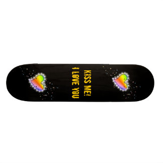 Rainbow heart with asterisks on black custom skate board