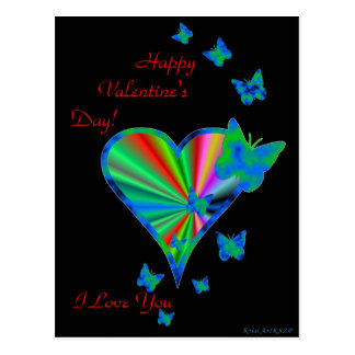 Rainbow Heart with Butterfly Postcard