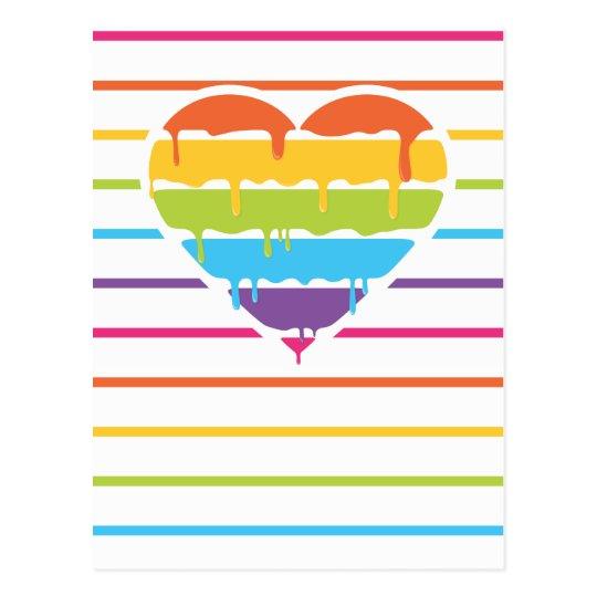 Rainbow heart with drip postcard