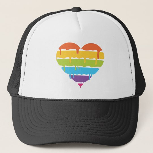 Rainbow heart with dripping paint trucker hat