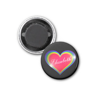 Rainbow Heart with Name 1 Inch Round Magnet