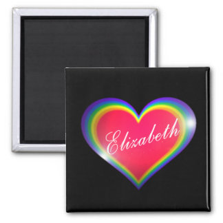 Rainbow Heart with Name 2 Inch Square Magnet