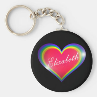 Rainbow Heart with Name Basic Round Button Keychain