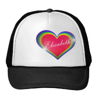 Rainbow Heart with Name Trucker Hat