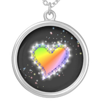 rainbow heart with stars and edge of kind Deco Silver Plated Necklace