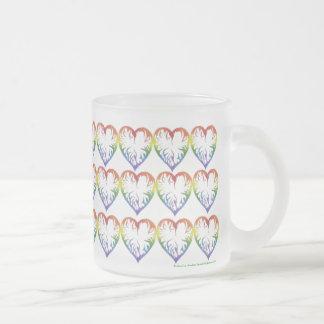 Rainbow Hearts 10 Oz Frosted Glass Coffee Mug
