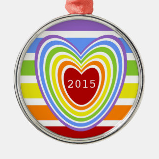 Rainbow Hearts and Stripes Metal Ornament