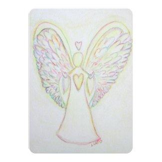 Rainbow Hearts Angel Art Custom Invitation