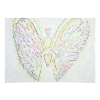 Rainbow Hearts Angel Art Custom Invitations