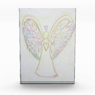 Rainbow Hearts Angel Art Custom Paperweight Acrylic Award