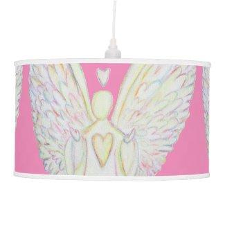Rainbow Hearts Angel Art Custom Pendant Lamp