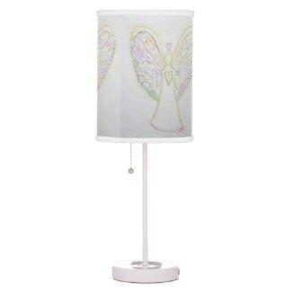 Rainbow Hearts Angel Art Custom Table Lamp