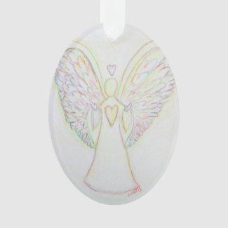 Rainbow Hearts Angel Art Holiday Ornament