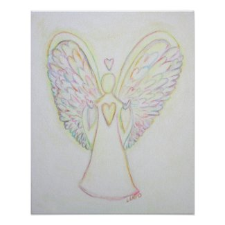 Rainbow Hearts Angel Art Print Poster