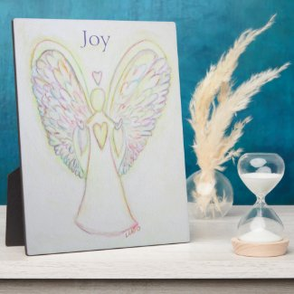 Rainbow Hearts Angel Joy Art Custom Plaque