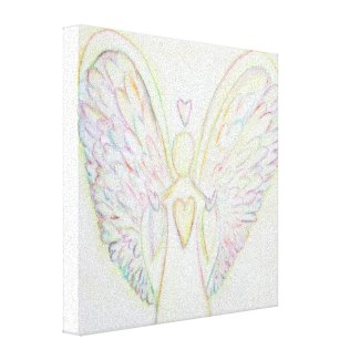 Rainbow Hearts Angel Painting Wrapped Canvas Art
