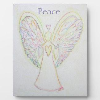 Rainbow Hearts Angel Peace Art Custom Plaque