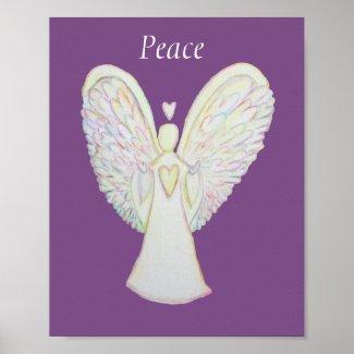 Rainbow Hearts Angel Peace Art Custom Poster