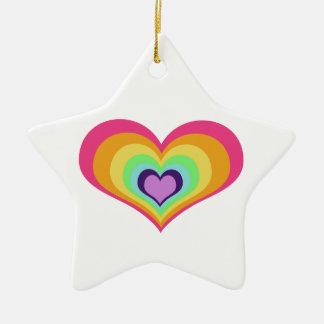 Rainbow Hearts Art Ceramic Ornament