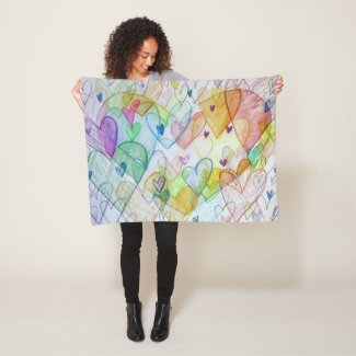 Rainbow Hearts Art Custom Fleece Throw Blanket
