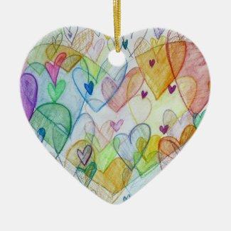 Rainbow Hearts Art Custom Holiday Gift Ornaments